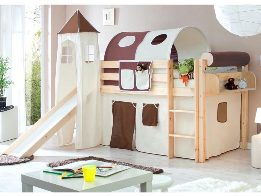 Letti A Soppalco Per Bambini : Letto a soppalco scivolo in legno pino naturale scelta tenda